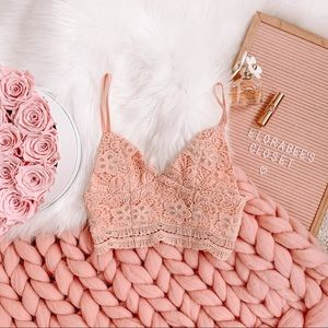 Peach Lace LF Stores Crop Top